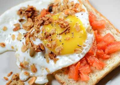 Toast with Sunny Side Up & Granola